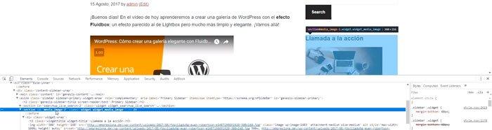 Identificando un elemento de la web con el inspector de Chrome
