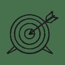 Ilustraciónde una diana con una flecha en medio