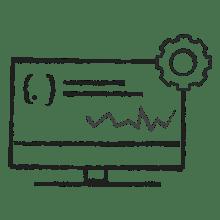 Ilustración de un ordenador con código