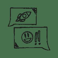 Ilustración de una conversación agradable con un cliente