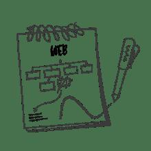 Ilustración de un bloc de notas con el esquema de una web dibujado